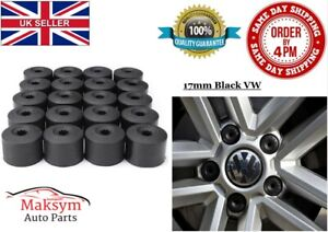 17mm VW Black Nut Caps Wheel Bolt Covers + 4x Locking Nuts Volkswagen Engraved