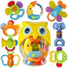 Baby Rattle Sets Teether Rattles Toys, 8pcs Babies Grab Shaker and Spin Rattle