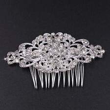 Crystal Rhinestone Diamond Bride Wedding Prom Silver Hair Head Jewelry Comb UK
