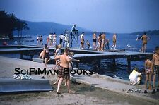 Vintage 35mm Slide Shirtless Boys Girls Lake Swimmimg Large Dock Fashion 1960!!!