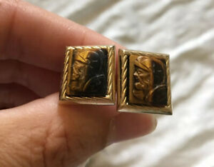 Vintage Men's HICKOK 1970's Tigers Eye Natural Stone Gold Plate Cufflinks Gift