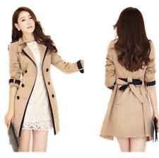 Womens Trench Coat Belt Double Breasted Overcoat Long Outwear Windbreaker Jacket