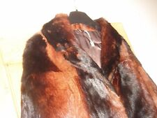 vintage? real mink fur coat jacket dark brown dyed size medium 12 to 14
