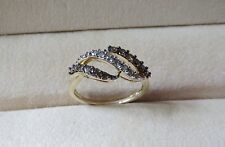 10k Yellow Gold with White and Chocolate Diamonds Paved Ring 2.30 Grams Size 7