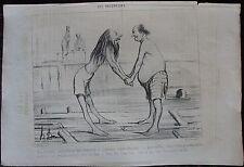 DAUMIER LITHOGRAPHIE ORIGINALE DU CHARIVARI,  LES BAIGNEURS, N°15
