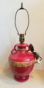 WELLER POTTERY LARGE VINTAGE HANDLED LAMP  RED WITH FLORAL DESIGN