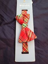 MEN'S BOW TIE-NEW-RED & GREEN PLAID with EASY DIRECTIONS
