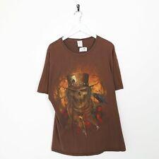 Vintage Neuheit Grafik Skelett Großes Logo T-Shirt Brown XL