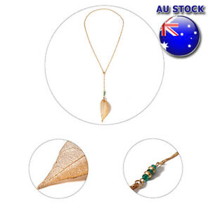 Gold/Silver Tone Crystal Bead Link Delicate Leaf Dangly Drop Costume Necklace