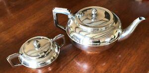 Vintage Linton Silver EPNS A1 Teapot & Sugar Bowl Australian Art Deco