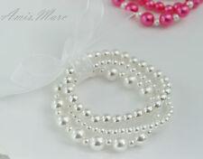Little Kids/Wedding/Flower Girl SnowWhite Handmade Elastic Pearl Gift Bracelet