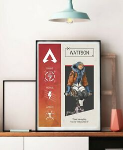 Apex Legends Wattson Character Poster, Bloodhound poster, Video Game Decor