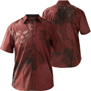 AFFLICTION Men's short sleeve Button Down Shirt HELLISH red Embroidered Biker S-