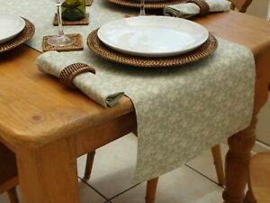 40x200cm VINTAGE SAGE WITH CREAM FLORAL STRAIGHT ENDED TABLE RUNNER - 6 SEAT