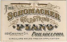 Victorian Schomacker Gold String Piano Philadelphia Advertising Trade Card
