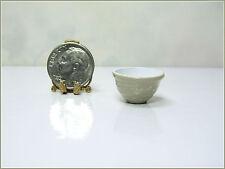 Dollhouse Miniature or Fairy Garden Small Beige & White Metal Mixing Bowl