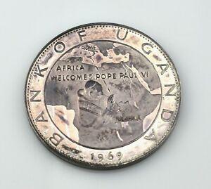 1969 Uganda 20 Shillings 999 Silver Africa Welcomes Pope Paul VI