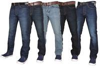Crosshatch Mens Denim Jeans Straight Leg Cotton Trousers Pants With Belt 30-38