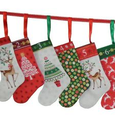 Traditional Christmas Mini Stockings Advent Calendar Cut & Sew Fabric - PANEL