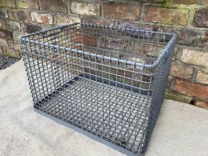 Large Vintage  Metal  Basket  Log Basket 60 cm long (1236)