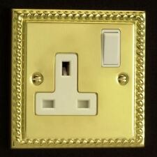 Varilight 1 Gang 13 Amp White Switched Electrical Plug Socket Georgian Brass