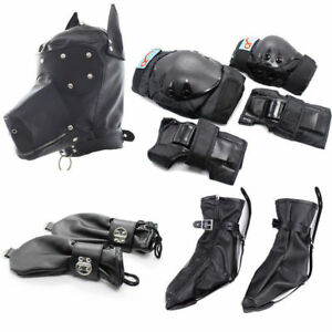 Leather Gimp Dog Puppy Hood Full Mask Mouth Costume Party Mask Zipped Muzzle