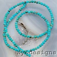 "*2x2mm Natural Blue Hubei Turquoise Round Beads 15"" (TU795)a"