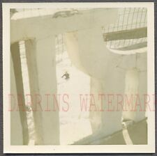 Unusual Vintage Color Photo Balcany View of Man in Window Snow 705162