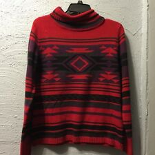 CHAPS RUST/GREEN/PURPLE AZTEC PRINT TURTLENECK  SWEATER PL