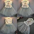 Baby Girls Toddler Vest Tops Tutu Dress Skirt Wedding Pageant Party Outfits 2-7T