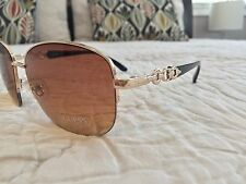 New GUESS Squared Sunglasses Brown And Gold Oversize GUF 235 GLD-34