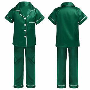 Kids Girls Boys Silk Satin Pajamas Button-Down Top Pant Set Sleepwear Nightwear