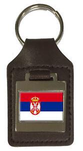 Leather Keyring Engraved Serbia Flag