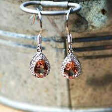 Color Change Diaspore Drop Earrings Sterling Silver 925 with Cubic Zirconias