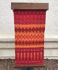 Wool Hand Woven Wall Hanging Tapestry w/ Wood Bracket Geometric MCM Pink Orange