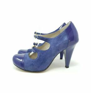 Clarks Cushion Soft Purple/ Blue UK 3D EU 36 Mary Jane Heels Double Strap Pin Up