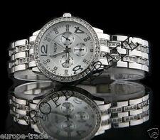 SIlver Geneva Chronograph Designer Style Ladies Womens Crystals Bling Watch