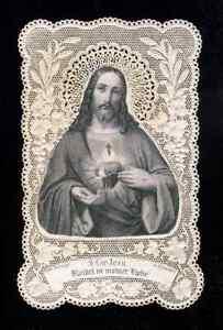 (119559) Image pieuse canivet santino: Sacré Coeur de Jésus (Benziger)