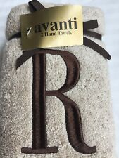 "AVANTI Hand TOWELS Set Of 2 NEW MONOGRAMED Letter ""R"" Free SHIPPING"