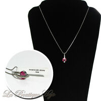 silberne Halskette, Anhänger mit SWAROVSKI STEIN Rose. ca 48 cm, Modeschmuck Neu