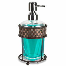 Home Basics Weave Pattern Metal & Acrylic Bathroom Soap Dispenser