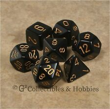 NEW 7pc Set Opaque Black w/ Gold RPG Game Dice in Box D&D Chessex 7 piece D20 +
