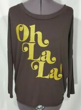 NWT CHASER Oh La La Oversized 3/4 Sleeve Shirt Top Tee Gold Glitter French Sz XS