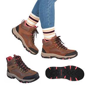 Skechers Womens Trego-Base Camp Tan Waterproof Memory Foam Hiking Ankle Boots