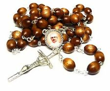 Saint Giuseppe Moscati brown rosary relic patron of bachelors, physicians