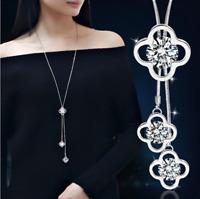 Damen Halskette mit Anhänger Mode 75cm Schmuck Collier lange Kette Silber M6