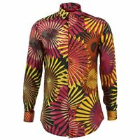 Mens Shirt Loud Originals TAILORED FIT Fireworks Red Retro Psychedelic Fancy