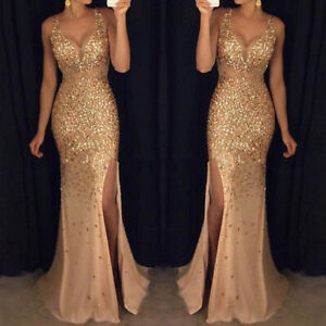 Womens Sequin Formal Ball Gown Evening Cocktail Party Wedding Bridesmaid Dresses