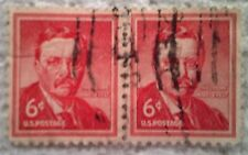 1955 Scott 1039 Theodore Roosevelt two cancelled used 6 cent stamps off paper