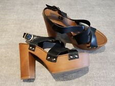 Atmosphere size 6 (39) black faux leather buckle strap gladiator sandals heels